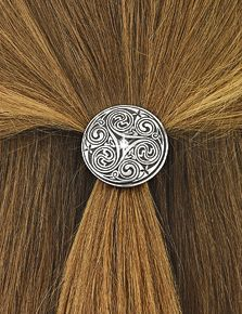 Only at GaelSong - Crystal Pewter Hair Tie - Sweep your tresses back into this hair tie for Celtic style. A sparkling crystal accents the triple spiral surrounding it. Pewter medallion with elastic hair tie.