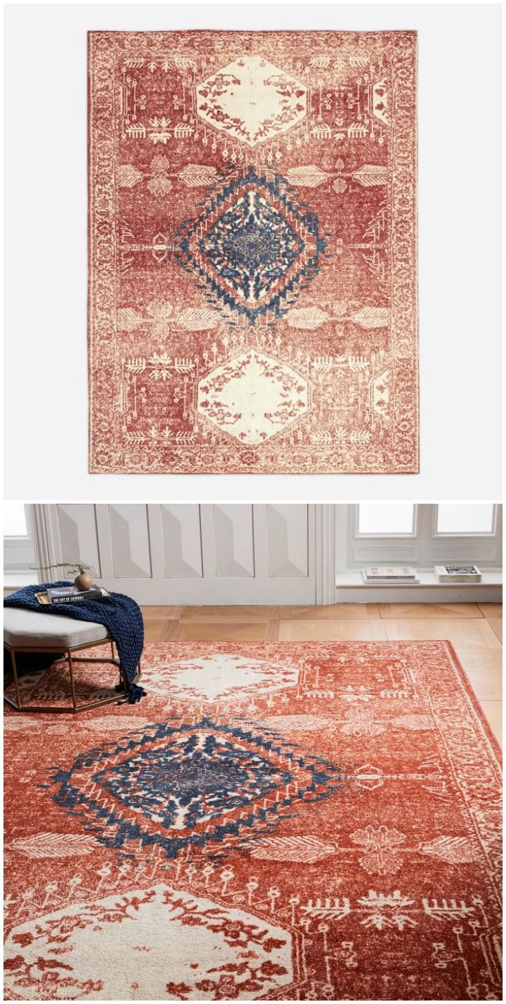 Distressed Medallion Area Rug From West Elm Pretty With A Boho Or Modern Style Rich Saturated Color Modernizes The Tradition Rug Making Rugs Saturated Color