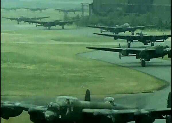 Lancasters taxi out at RAF Hemswell