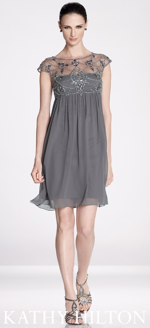 The cutest maids dress in gray. Soft gray goes a long way in partnering with other colors. ♥Kathy Hilton♥ Collection.