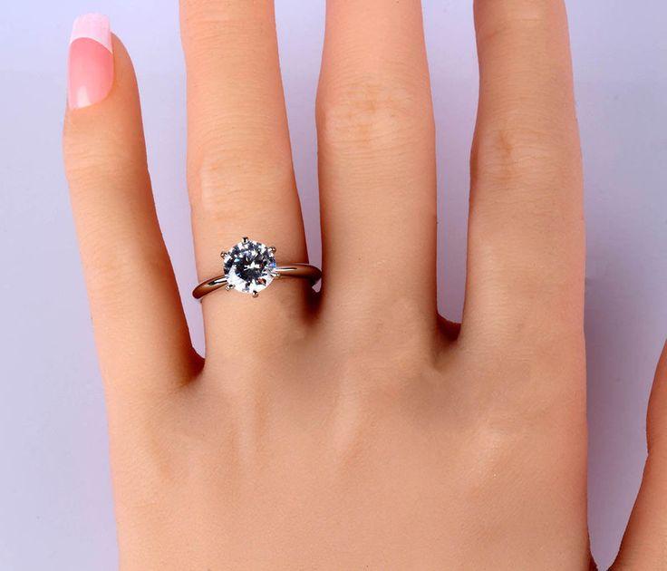 1 Ct  Diamond  Round Cut 14K White Gold Enhanced Women Wedding Ring #GoldJewellery17 #Solitaire