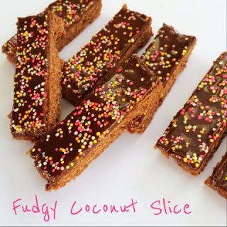 Fudgy Coconut Slice