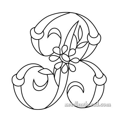 (^_^) Daisy and Rings Free Monogram for Hand Embroidery: B