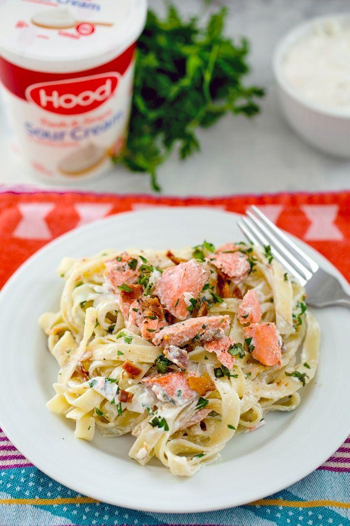Salmon Fettuccine With Sour Cream Caesar Sauce Recipe Delicious Seafood Recipes Creamy Salmon Pasta Fettuccine