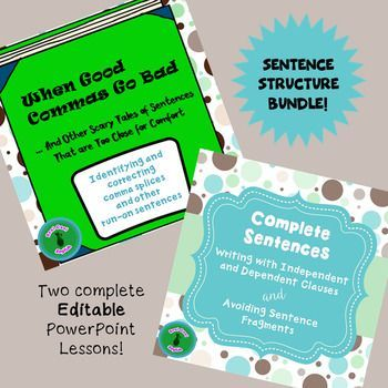This bundle contains two complete lessons on two related topics: sentence fragments and comma splices. Each contains a no-prep PowerPoint lesson with plenty of examples and ample practice opportunities. Save by purchasing them together! Bundle includes:Sentence Fragment Lesson1.