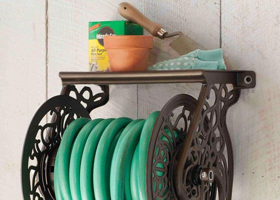 A wall mount hose reel keeps garden hoses out of the way when not in use. This is just one of the stylish storage options for taming hoses at The Home Depot. See what's new in garden hoses and accessories on The Home Depot's Garden Club.