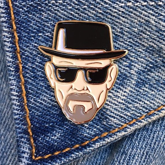 Be a badass and wear your Walter White pin. The best anti hero of all time!  Enamel pins are fun, quirky & retro. Wear them on your denim jacket, blouse or backpack.  Our pins are outlined in gold metal & come with a gold butterfly clutch.  The pins are attached to a backing piece and sleeved in a plastic bag for safe shipping.  Great packaging to give as a gift.  Pin is approximately 1.125