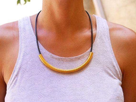Black and gold curve tube necklace by FabLabCrafts on Etsy