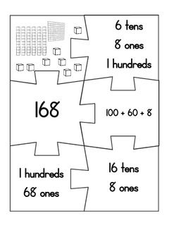 place value partitioning jigsaws 3 digit numbers fantastic k 3 math resources pinterest. Black Bedroom Furniture Sets. Home Design Ideas