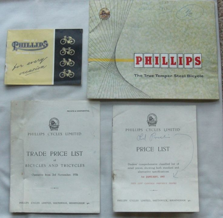1956-57 ORIGINAL VINTAGE PHILLIPS BICYCLE SALES CATALOGUES + 2 TRADE PRICE LISTS