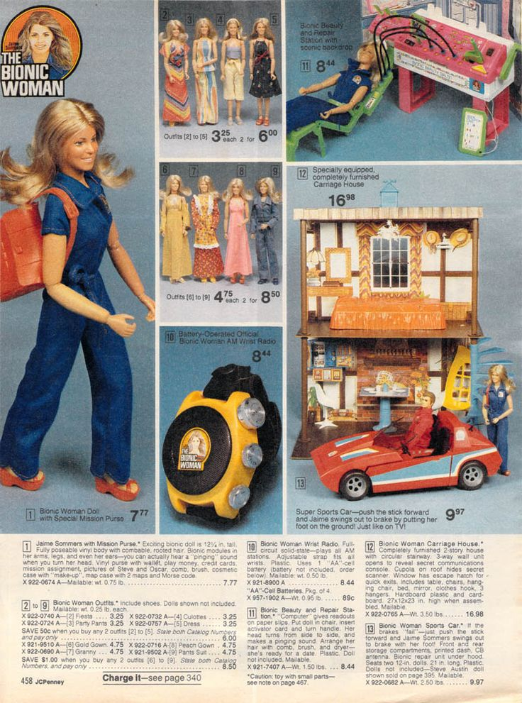 OMG I HAD THIS!!!! I HAD ALL OF IT! The Bionic woman doll ad from JC Penneys Christmas Catalog 1977