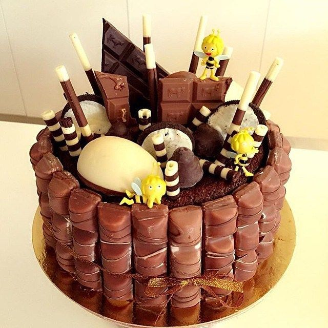 – Chocolate Kinder Cake with Chocolate Sponge Center, Topped with Assorted Kinder