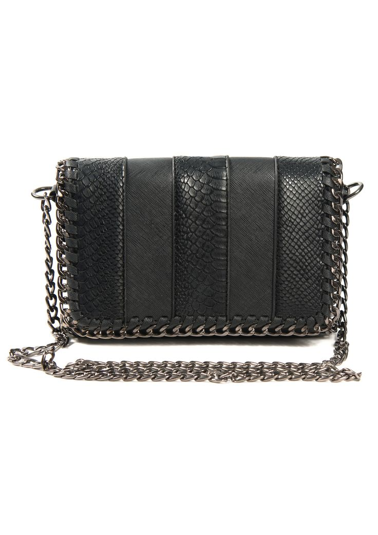 Crossbody black bag with chain strap and braided detail on the flap .