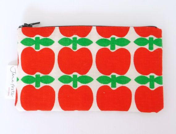 O = appel Handmade Scandinavian 70s Apple fabric purse bag by Jane Foster