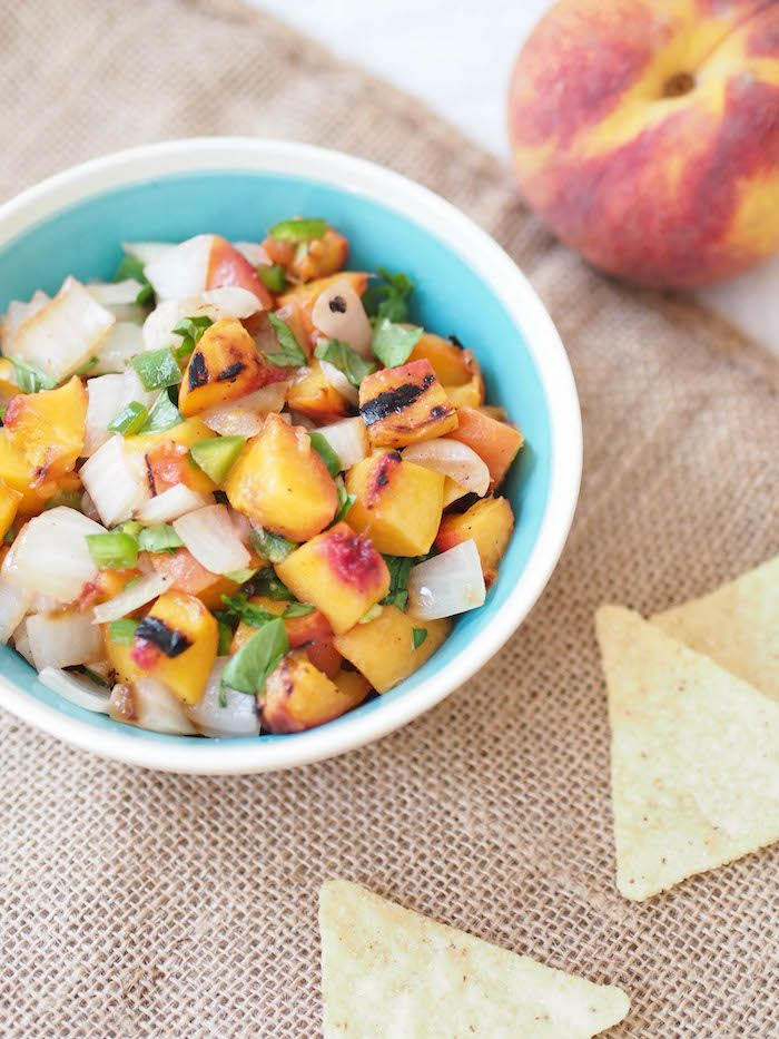 Inspired by two of my favorite Georgia specialties, this grilled peach and Vidalia onion salsa is great by itself, served over fish or stirred into guac!