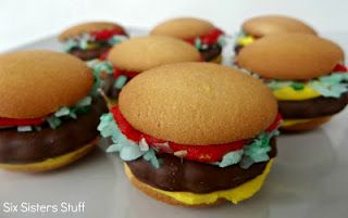 Mini Hamburger Cookies, vanilla wafers, thin mints, green tinted coconut, red and yellow frosting.