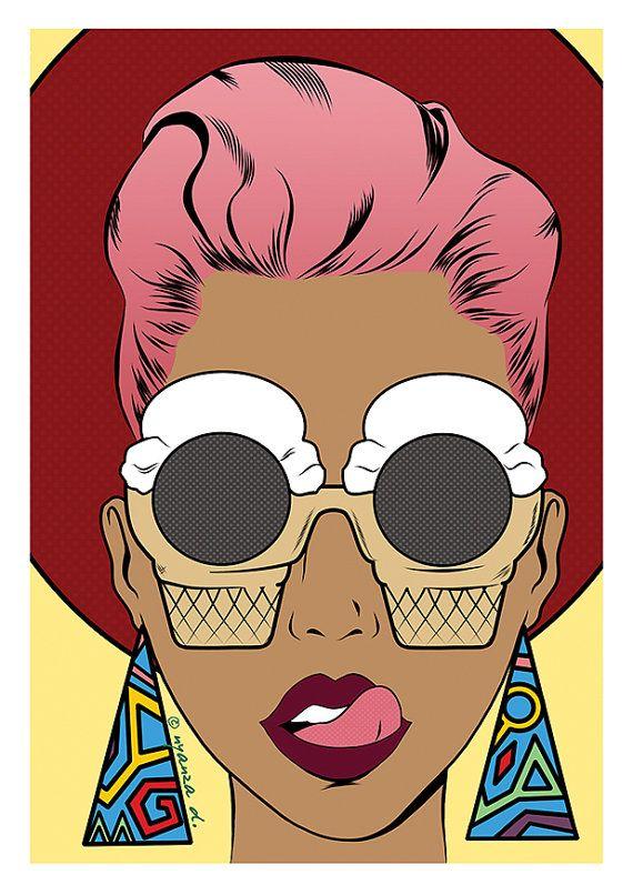 Ice cream sunglasses pop art girl greeting card print by MonchiCards