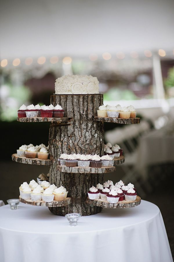 woodland wedding dessert display, photo by Richard Israel | via junebugweddings.com
