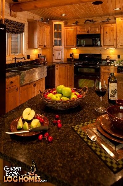 The kitchen in golden eagle 39 s lodge ii plan kitchen for Log cabin kitchen countertops
