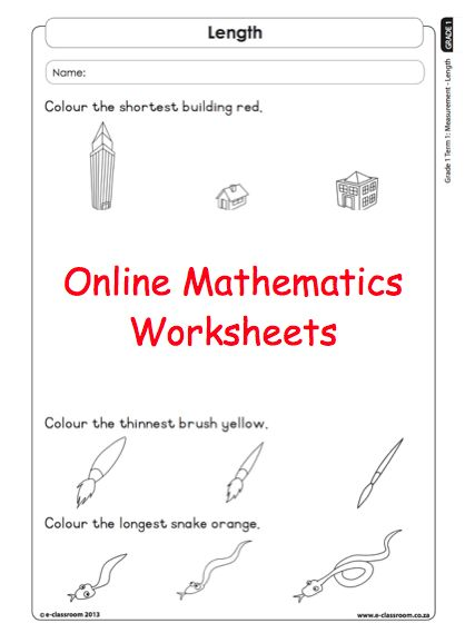 Grade 1 Online Measurement Mathematic Worksheets. For more visit www.e-classroom.co.za!