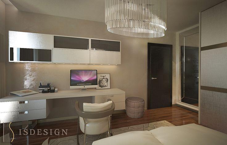 Спальная комната девочки подростка - дизайн проект интерьера четырехкомнатной квартиры в Праге. Архитектор-дизайнер Инна Войтенко.