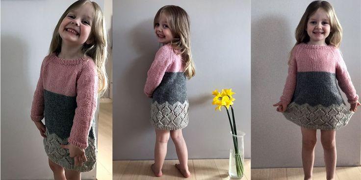 Модная сейчас субкультура хипстер завоевала и детскую одежду. Стильное и удобное платье реглан, вязаное спицами без швов по кругу, с описанием для девочек 2, 4, 6 и 8 лет. Вязаное спицами модное платье хипстер для девочек.