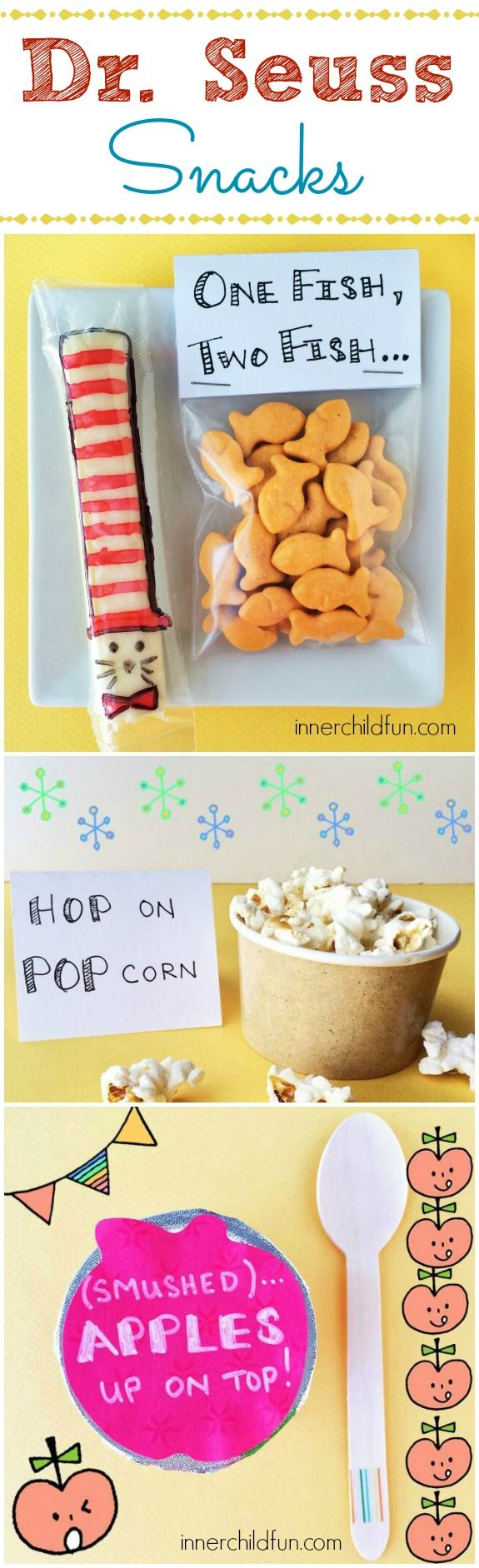 Dr. Seuss Snacks! - fun, festive, and candy-free snacks to celebrate Dr. Seuss Day! :-)