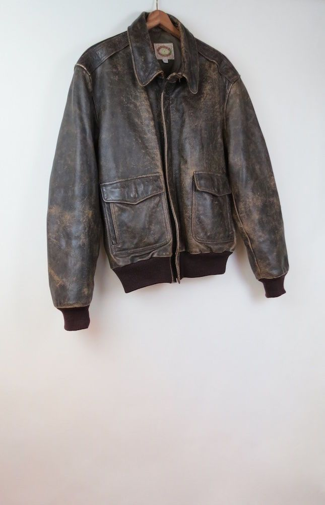ce9c30ddb Vintage 90s Banana Republic distressed brown leather bomber jacket ...