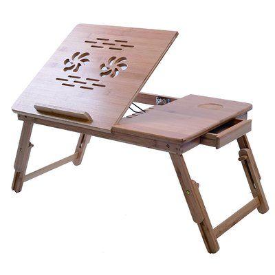 Bamboo Laptop Desk Computer Stand Desktop Tilting Top Drawer Holder Mount