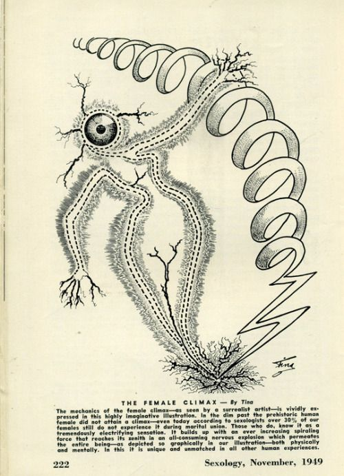 The mechanics of the female climax–as seen by a surrealist artist–is vividly expressed in this highly imaginative illustration.Sexology, November 1949.Unusual drawings and charts were a feature of Sexology in the early years.
