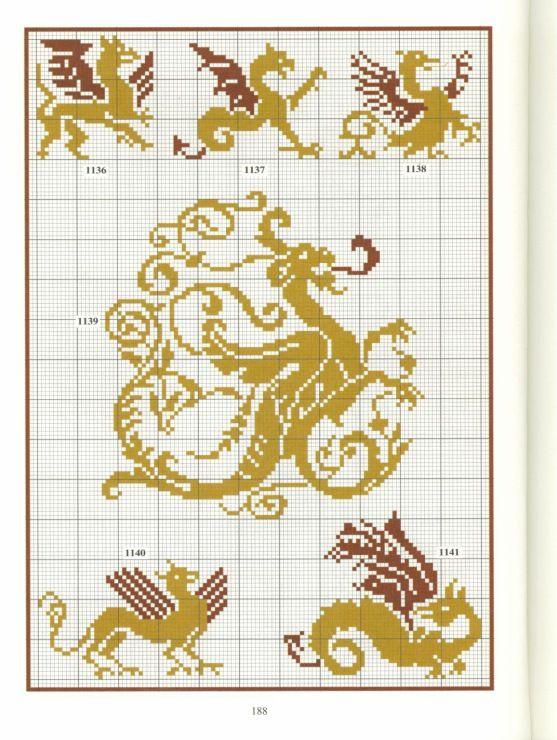 Gallery.ru / Photo # 23 - Repertoire des motifs - Orlanda monsters wyvern dragon hippocampus griffon