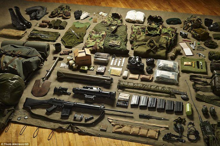 Infantryman's load during the Falklands War  1982.