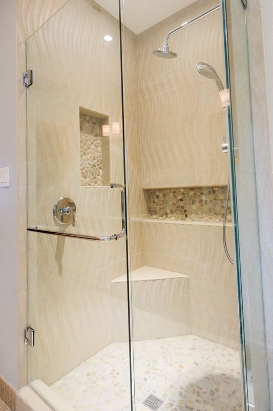 We Love How We Incorporated Different Textures: Wavy Shower Tile, Pebble  Shower Floor,