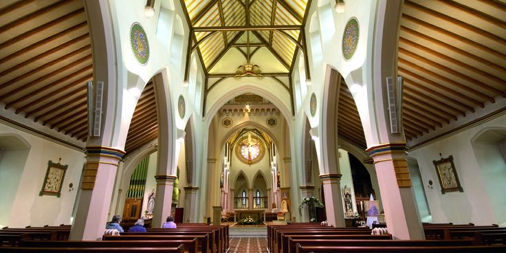 St Barnabas, Cathedral Church Nottingham: Enlighten were asked to assess the existing lighting scheme that was originally installed in the cathedral in 1994 and provide a more cost effective, energy efficient and easy-to-use system.  #lighting #church