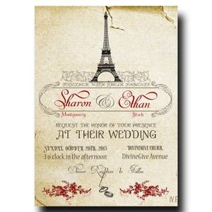 Paris Wedding Invitation -  Red Roses Printable Invitation (24)