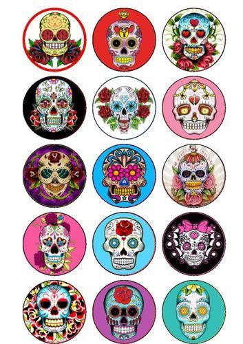 15 Day of The Dead Sugar Skulls Cake/Cupcake Rice Paper Toppers | eBay