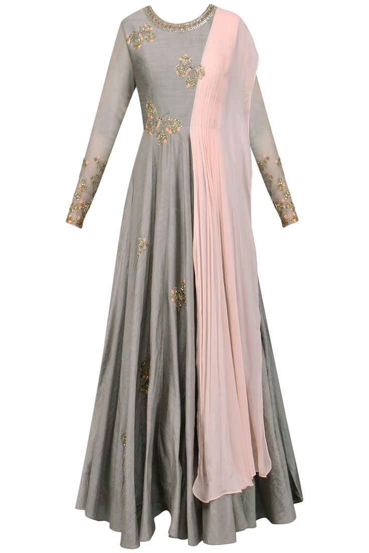SHIKHA AND NITIKA Grey and Pink Butterfly Embellished Anarkali. Shop Now! #indianfashion #indiandesigners #fashion #embroidered #perniaspopupshop #happyshopping