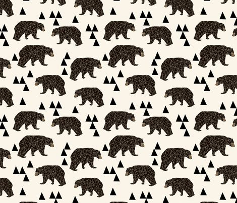 geo bear // cream geo trendy hipster bear woodland kids nursery baby design fabric by andrea_lauren on Spoonflower - custom fabric