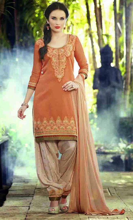 USD 31.53 Salmon Cotton Cambric Punjabi Suit 47497