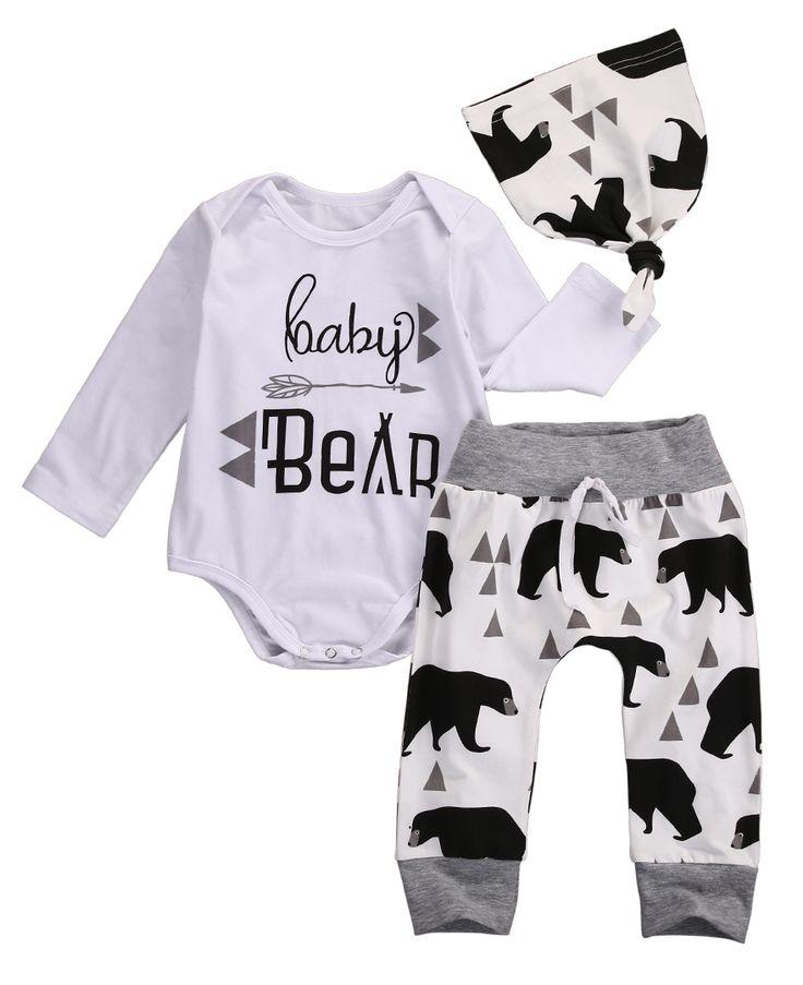 3PCS Autumn Spring Newborn Baby Boys Girls Bear Long Sleeve Letter Tops Romper+Bear Pants Hat Outfits Set Christmas Clothes