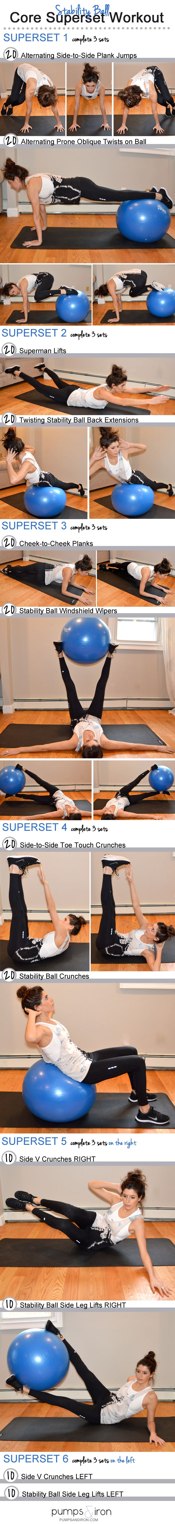 Stability Ball Superset Core Workout started sweating just reading this!! Next Challenge.. Accepted!!!