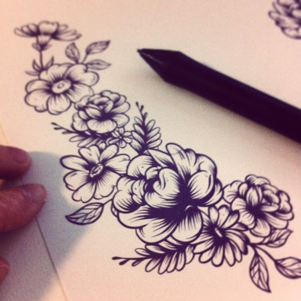 """Drawing flowers (referenced from my plate collection) for a poster in the works <3"""
