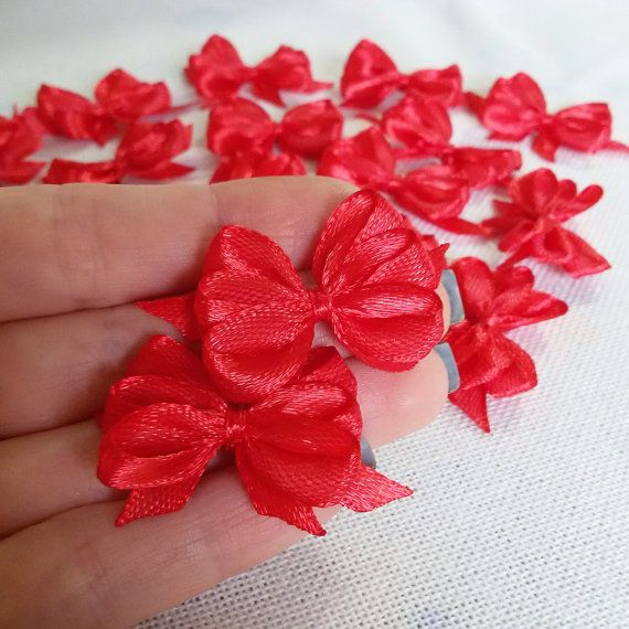 Red satin ribbon bows red applique bows red gift by Rocreanique on Etsy