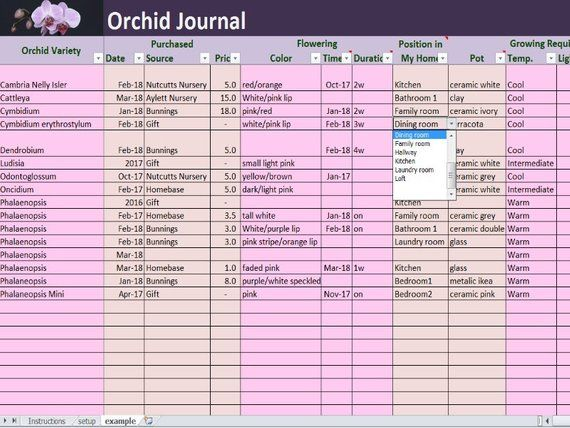 Orchid Journal Excel And Pdf Template House Plants Log