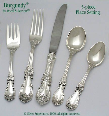 Reed and Barton Burgundy Sterling Silver Flatware 5-pc