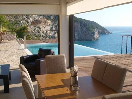 Lefkas 3 br Beach Front Vacation Rental Villa: Beachfront villa for 6 with private poo land sea view | ID:9930 | PerfectPlaces.com