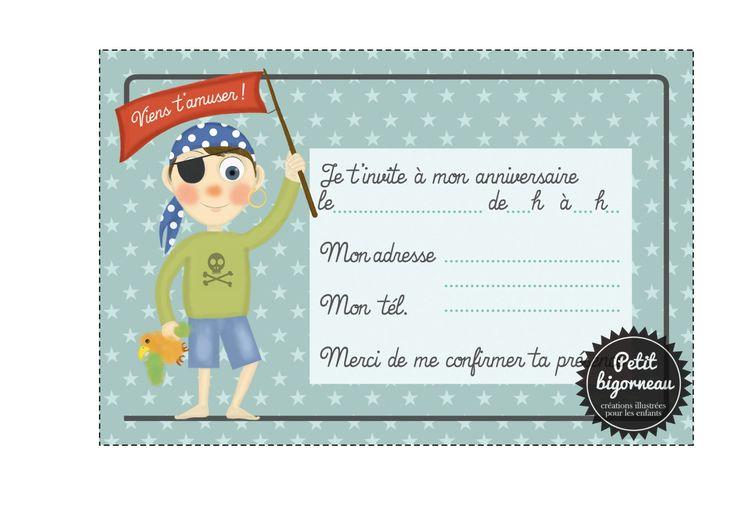 "Printable birthday card invitation ""Pirate""/PDF de la boutique Petitbigorneau sur Etsy"
