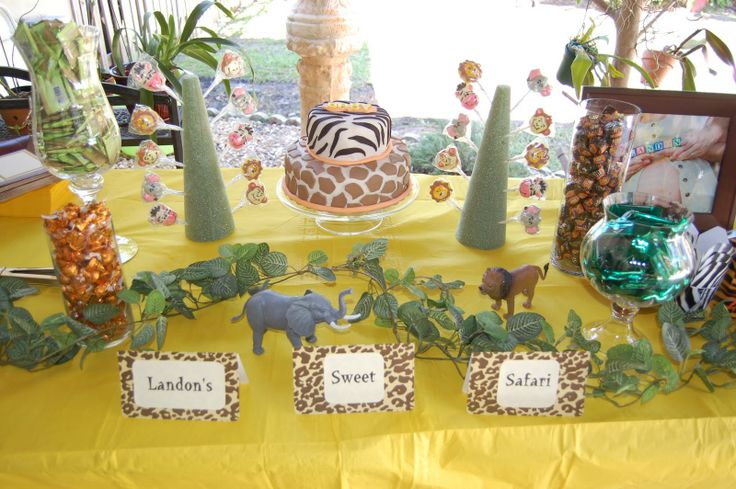 """jungle baby shower theme   ... snapped to share """"Landon's Sweet Safari"""" candy buffet table. Enjoy"""