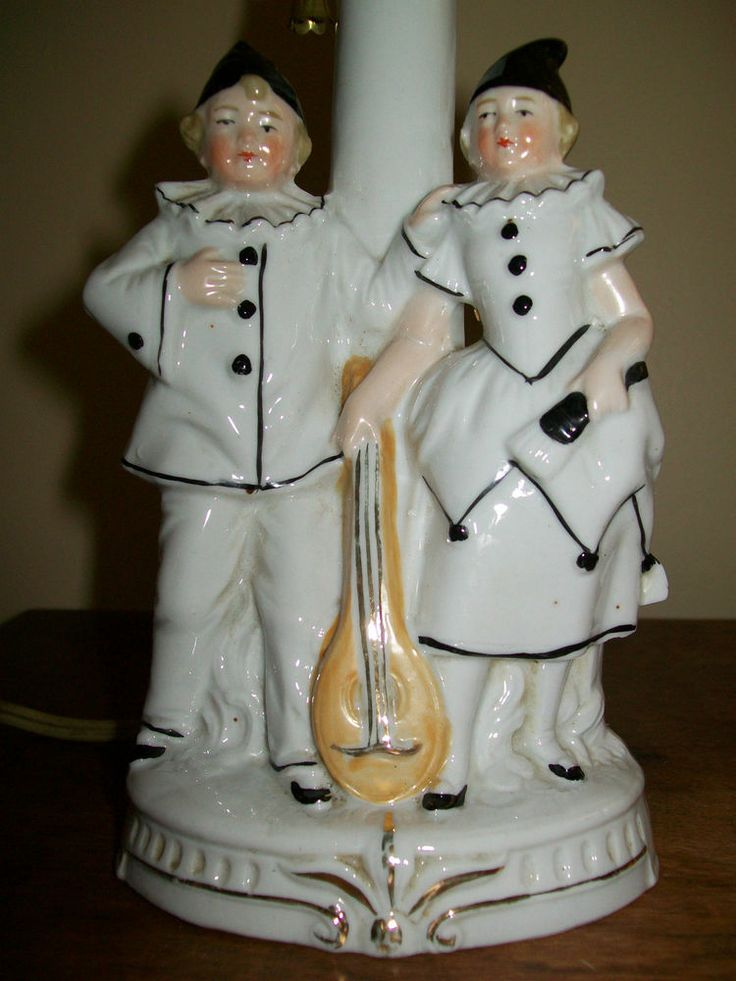 Antique Germany Porcelain Lady & Man Figures in Court Jester Costume Table Lamp