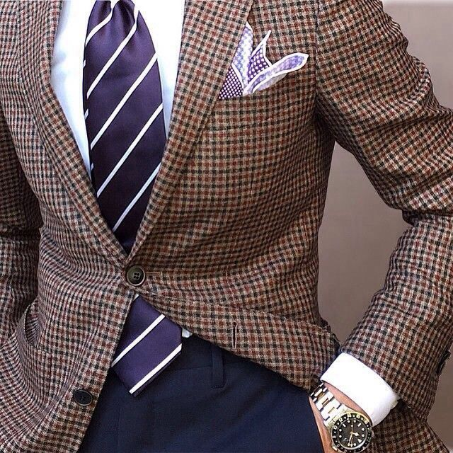 ad752f6f0605 Navy pants, brown and navy guncheck blazer, patterned p square ...